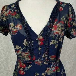 Converse Semi Sheer Navy Floral Sheath Dress S